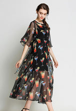 NBRAND Juice Print Bat Sleeve Two-Piece Dress - NBRANDFASHION.COM