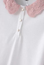 NBRAND Flower Collar Short Sleeve T-Shirt - NBRANDFASHION.COM