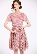 Short Sleeve Tasseled Feather Dress
