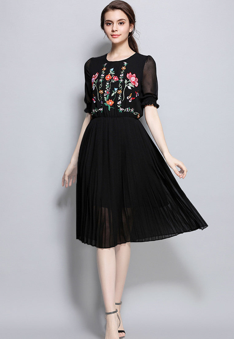 NBRAND Elbow Length Lotus Leaf Sleeve Embroidered A-Word Dress - NBRANDFASHION.COM