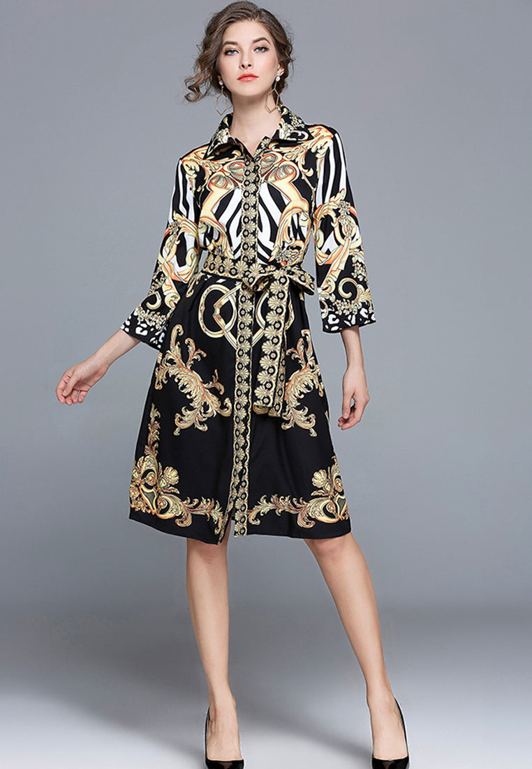 NBRAND Lapel 3/4 Length Sleeve Printed Dress - NBRANDFASHION.COM