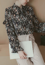 Stand Collar Fungus Fringed Long Sleeve Print Shirt