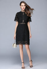 Short-Sleeve Hollow Lace Dress
