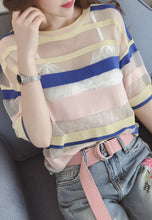 Round Neck Short Sleeve Striped Two-Piece Harness T-Shirt