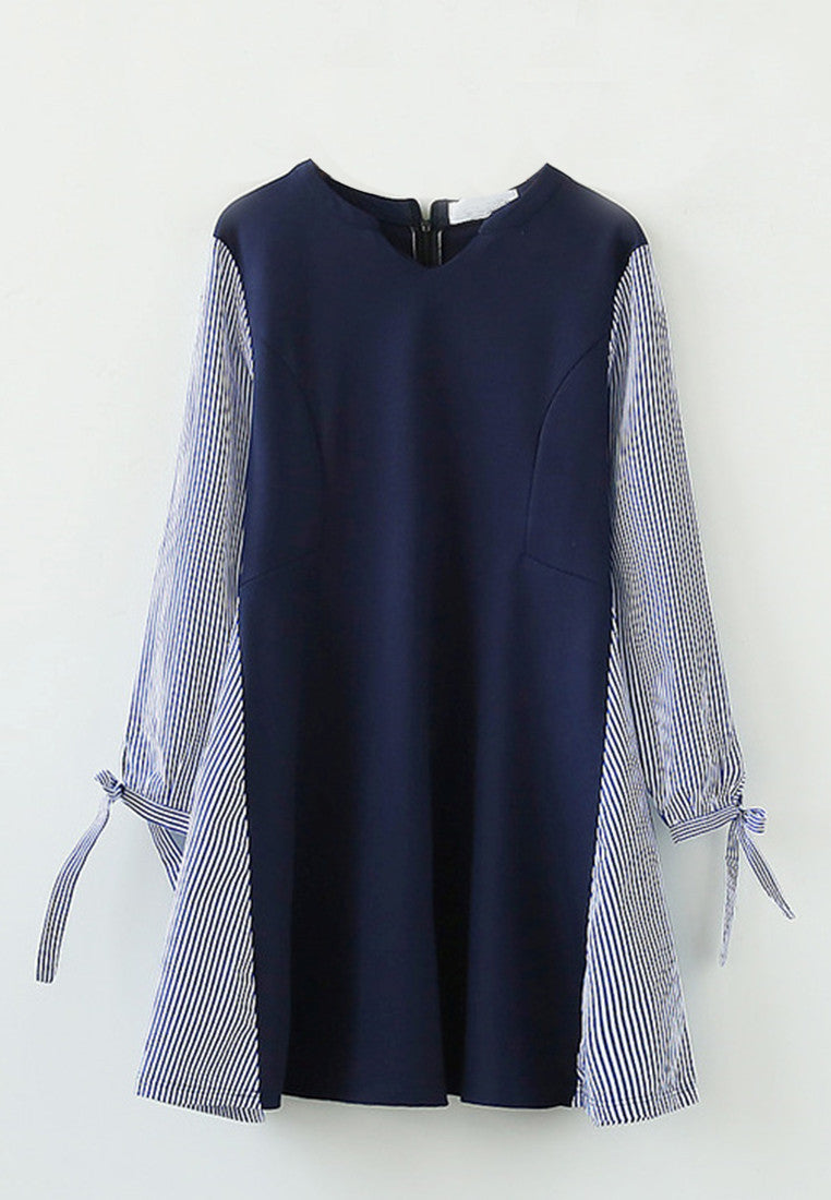 V Collar Striped Stitching Long Sleeve One-Piece Dress