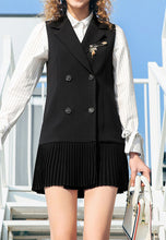 Pleated Skirt Stitching Vest Coat