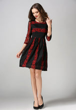Round Neck Lace Elbow Length Sleeve One-Piece A-Word Hollow Dress