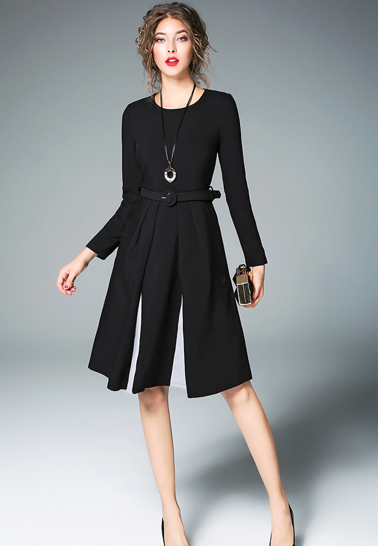 NBRAND Hepburn Stitching Long Sleeve A-Line Dress - NBRANDFASHION.COM