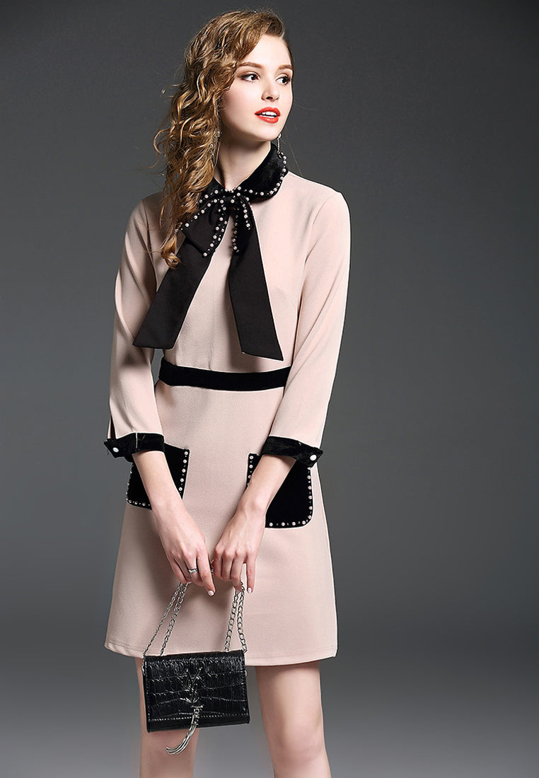 NBRAND Beads Doll-Style Collar Bowknot Dress - NBRANDFASHION.COM