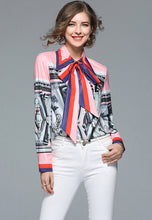 NBRAND Bowknot Lapel Long-Sleeve Shirt - NBRANDFASHION.COM