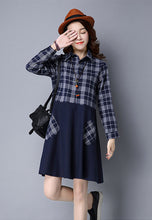 NBRAND Long-Sleeve Lattice Stitching One-Piece A-Word Dress - NBRANDFASHION.COM