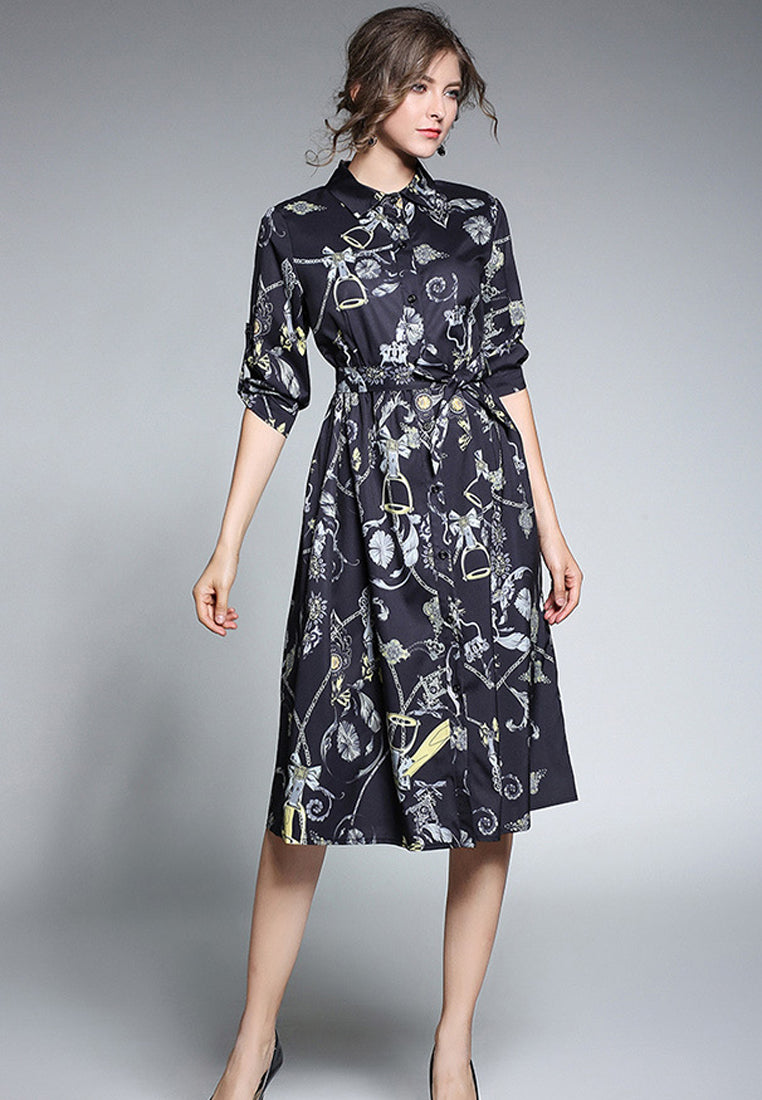 Printed Bandage Shirt Dress