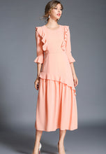 NBRAND Irregular Lotus Leaf Fringed 3/4 Length Sleeve Dress - NBRANDFASHION.COM