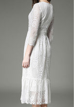 NBRAND Lace 3/4 Length Sleeve Dress - NBRANDFASHION.COM
