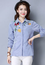 NBRAND Flower Embroidery Long-Sleeve Shirt - NBRANDFASHION.COM