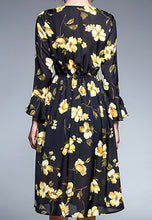 NBRAND Floral Bowknot Long Sleeve A-Line Dress - NBRANDFASHION.COM