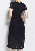 NBRAND Lace Short Sleeve A-Line Dress - NBRANDFASHION.COM