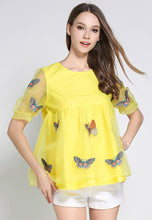 NBRAND Butterfly Embroidery Lace Top - NBRANDFASHION.COM