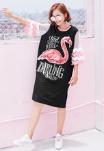 NBRAND Flamingo Print Stitching T-Shirt Dress - NBRANDFASHION.COM