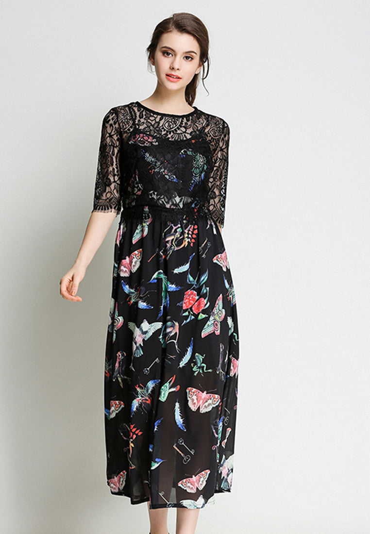 NBRAND Lace Stitching Retro Print One-Piece Long Dress - NBRANDFASHION.COM