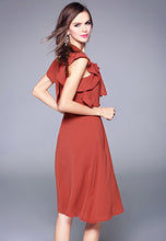 Solid Colour Lotus Leaf Edge Bowknot Dress