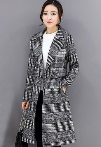 Plaid Lapel Coat