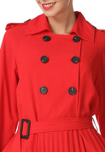 NBRAND Double-Breasted Pleated Belt-Waisted Trench Coat Dress - NBRANDFASHION.COM