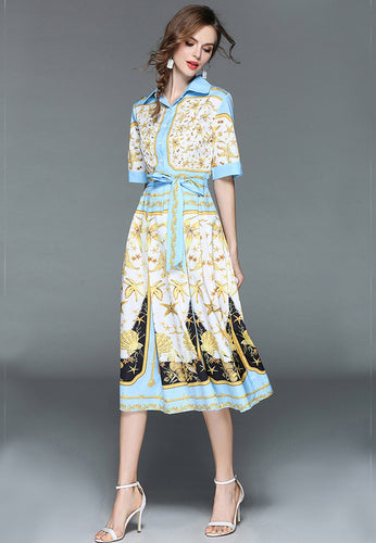 NBRAND Lapel Long Sleeve Bandage Print Dress - NBRANDFASHION.COM