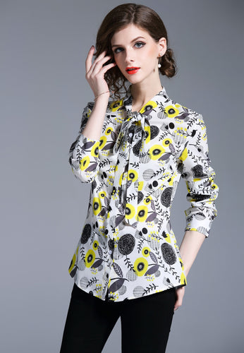 NBRAND Bowknot Print Long Sleeve Shirt Top - NBRANDFASHION.COM