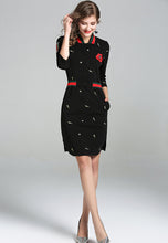 NBRAND Embroidery 3/4 Length Sleeve Hip Dress - NBRANDFASHION.COM