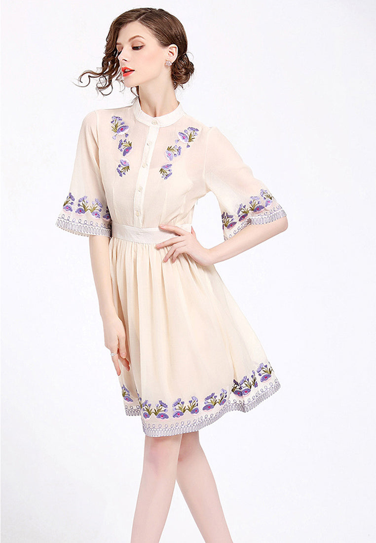 NBRAND Embroidery A-Line Dress - NBRANDFASHION.COM