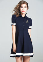 NBRAND Contrast Colour Striped Waisted Polo Shirt Dress - NBRANDFASHION.COM