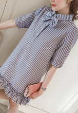 NBRAND Lapel Bow Tie Elbow Length Sleeve Striped Dress - NBRANDFASHION.COM