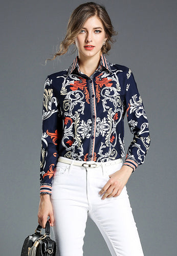 Print Slim Long Sleeve Shirt Top