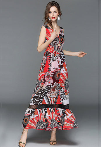 NBRAND Bohemian V-Neck Sleeveless Printed Dress - NBRANDFASHION.COM