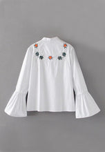 NBRAND Embroidery Trumpet Sleeve Shirt - NBRANDFASHION.COM