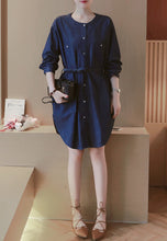 Round Neck Bandage Denim Dress