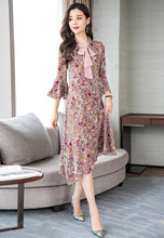 NBRAND Floral Printed Trumpet Sleeve Irregular Dress - NBRANDFASHION.COM