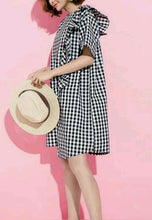 NBRAND Checkered Stitching Lotus Leaf Fringed Dress - NBRANDFASHION.COM