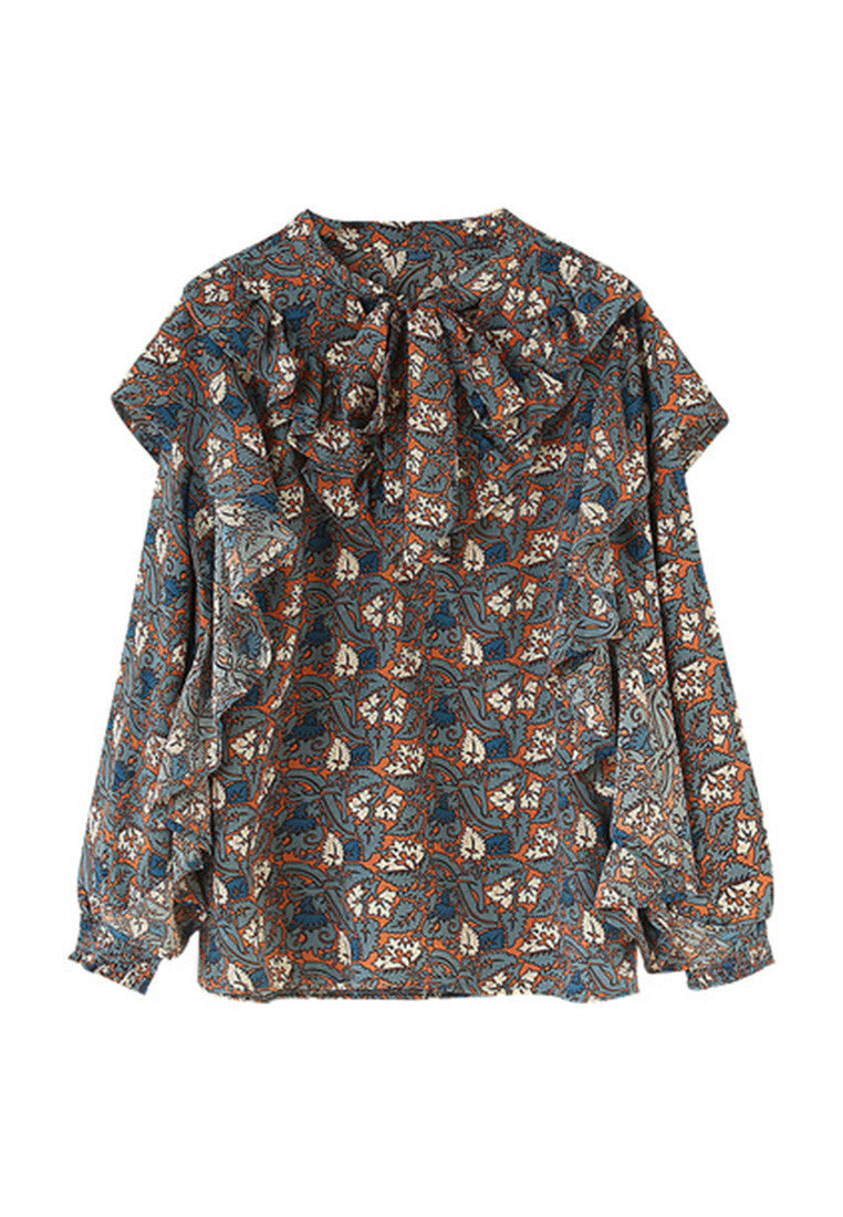 Printed Flounced Stitched Long Sleeve Shirt