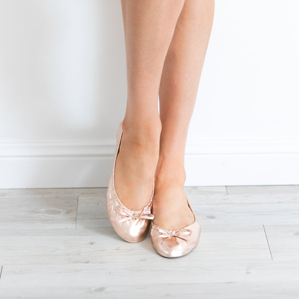 Rose Gold Foldable Wedding Ballet Flats