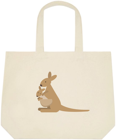 Kangaroo & Joey Large Canvas Tote Bag