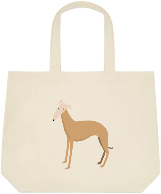 Tan Greyhound Large Tote Bag