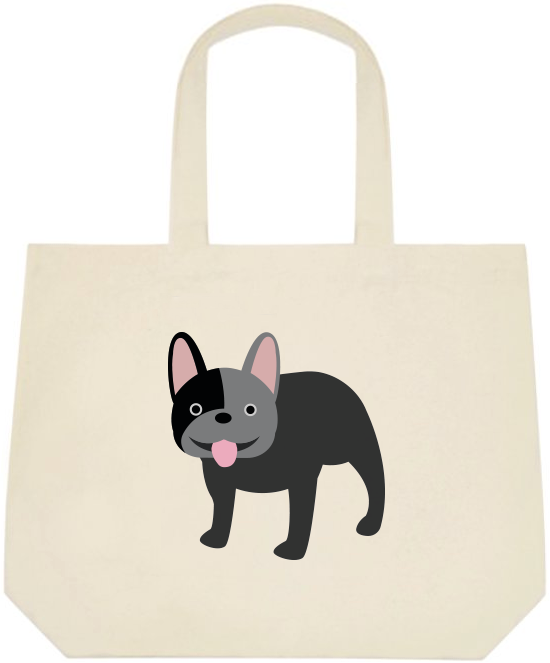 Black French Bulldog Large Canvas Tote Bag