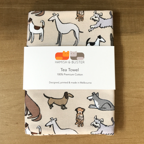 Dogs Cotton Tea Towel