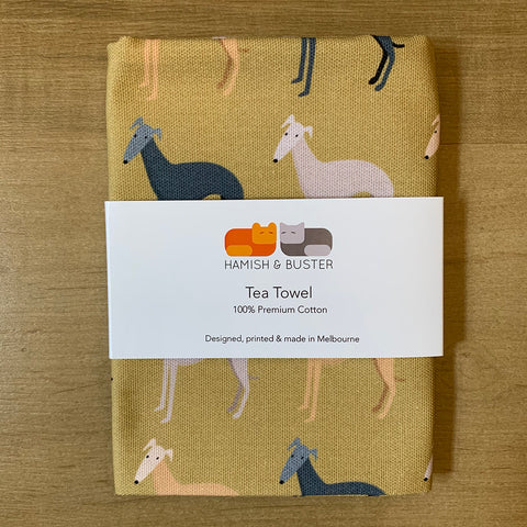 Whippets Cotton Tea Towel
