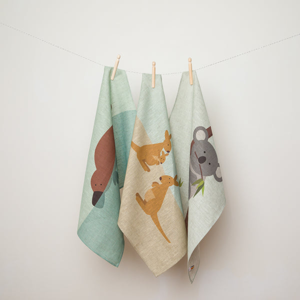 Kangaroo Family Linen Tea Towel
