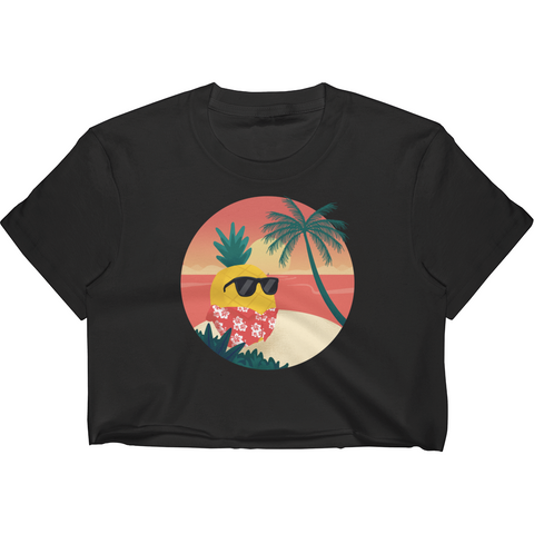 Pineapple Crop Top For Women | Tropical Hawaiian Tee | The Jazzy Panda