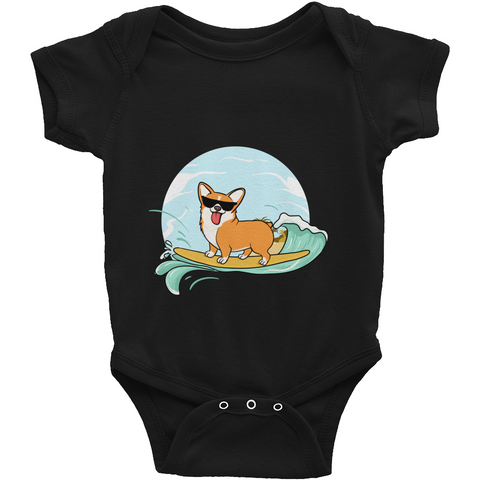 Corgi Baby Boy Onesie | Funny Pembroke Welsh Dog Romper | The Jazzy Panda