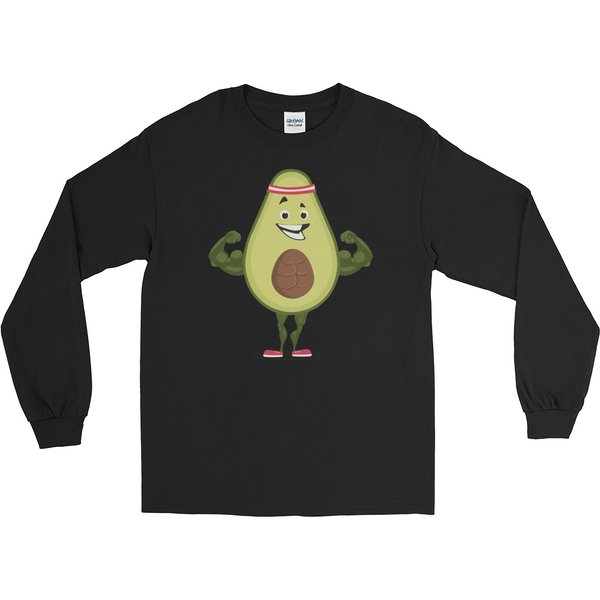 Avocado Long Sleeve T Shirt For Men | Funny Vegan Gym Gift Tee | The Jazzy Panda